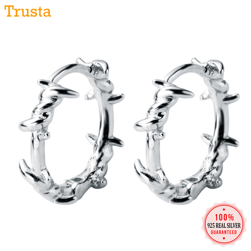 Trusta 1Pair 925 Sterling Silver Hoop Earring Barbed Wire Ear Cuff Clip On S925 Earrings Gift For Women Girl Teen Jewelry DS1410Trusta 1Pair 925 Sterling Silver Hoop Earring Barbed Wire Ear Cuff Clip On S925 Earrings Gift For Women Girl Teen Jewelry DS1410