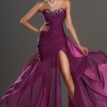 Дизайн, великолепное шифоновое вечернее платье без бретелек с глубоким вырезом и аппликацией