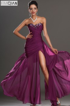 Free Shipping New Design Gorgeous Strapless Sweetheart Neckline High Split Appliqued Chiffon Evening Dress