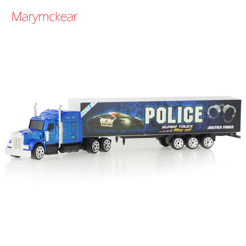 1 pcs Container Truck Model Tractors Car Toy Diecast Alloy Metal Car Vehicle Toy Role Play Toys for Kids Boy in Red/ Blue