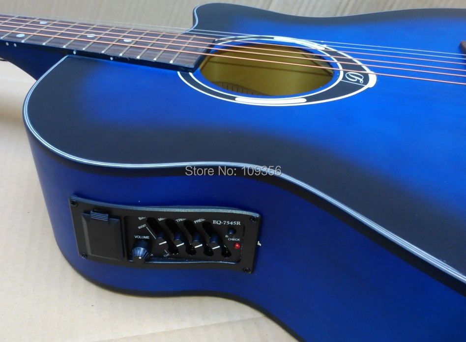 matte painting blue color electric acoustic guitar 40inch with free string free shipping