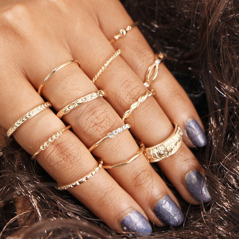 Summer Love 12pcs/Lot Charm Gold Color Midi Finger Ring Set Vintage Boho Knuckle Party Rings for Women Punk Jewelry 2017 Fashion
