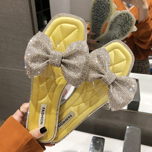 New Women Casual Summer Flat Slippers Rhinestone Bow Sandals Flip Flops Female Shoes Cute Girls Woman Footwear Beach Slides недорго, оригинальная цена