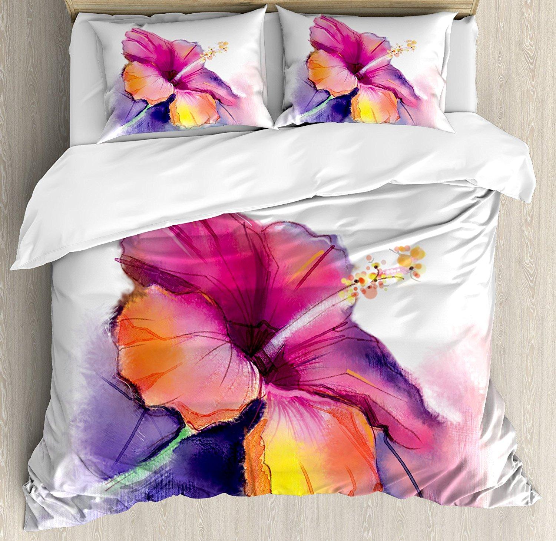 Juego de funda de edredón de flores de Hibiscus en Pastel abstracto colorido romántico patrón de pétalo arte impreso ropa de cama decorativa-in Juegos de ropa de cama from Hogar y Mascotas    1