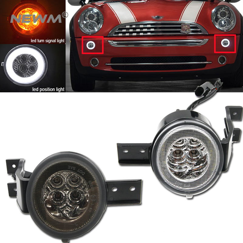 Clear Smoke Lens Full Led Halo Turn Signal Light Embly For Mini Cooper R50 R52 R53