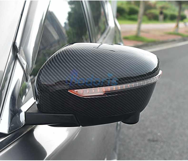 Serat Karbon Warna Mobil Styling Pintu Cermin Penutup Belakang Overlay 2016 2017 2018 untuk Nissan Qashqai Nakal Aksesoris Olahraga