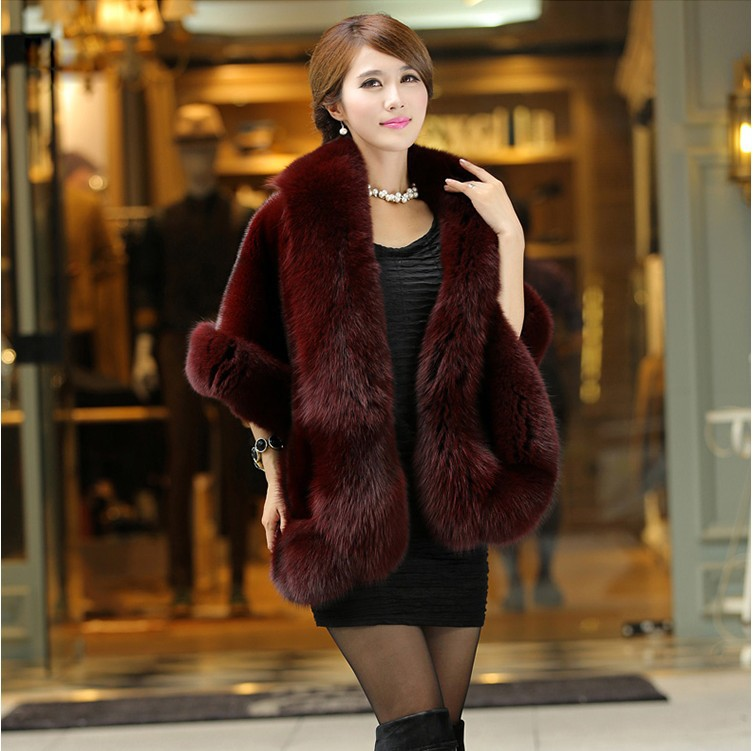 2016 Latest Winter Faux Fur Coats luxury fox fur imitation mink fur poncho bridal wedding dress shawl cape women vest fur coat