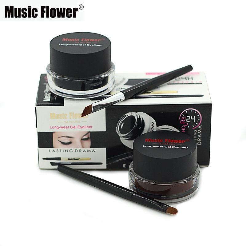 Müzik Çiçek Makyaj Kozmetik için 2 fırça ile Su Geçirmez Jel Eyeliner Seti Jel Göz Kalemi kiti 24 Saat kadınlar için