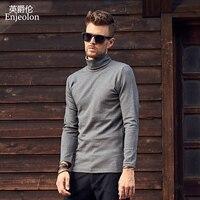 Enjeolon marka kalite turtleneck uzun kollu t gömlek adam pamuk 4 renk katı baz Giyim Üstleri Tee ücretsiz gemi RST7122-1