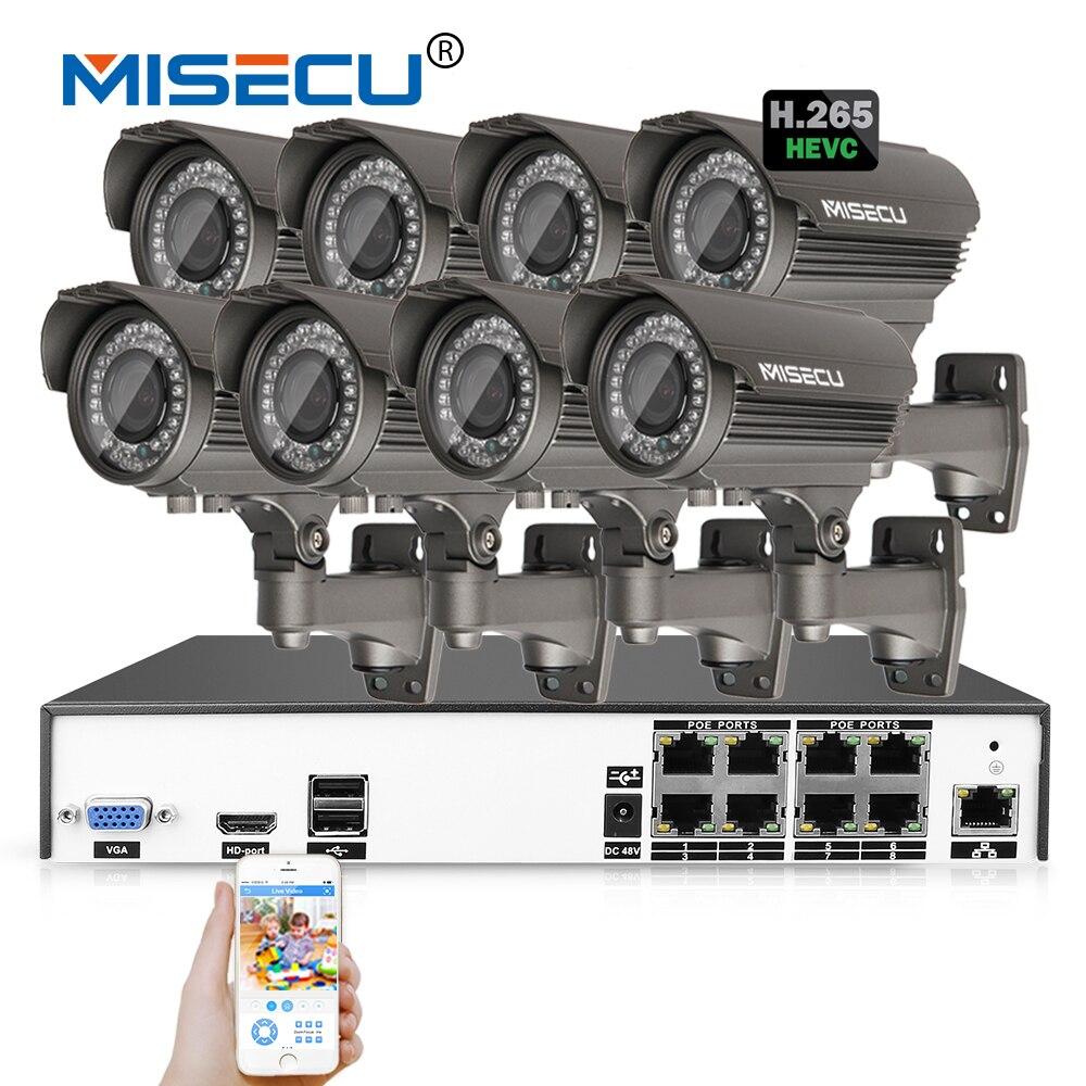 MISECU H.265/H.264 48 В 8*4,0 Мп 2,8-12 мм зум Hi3516D OV4689 8Ch IEE802.3af 4.0MP onvif 4 К POE P2P HDMI металлический Ночь CCTV Системы