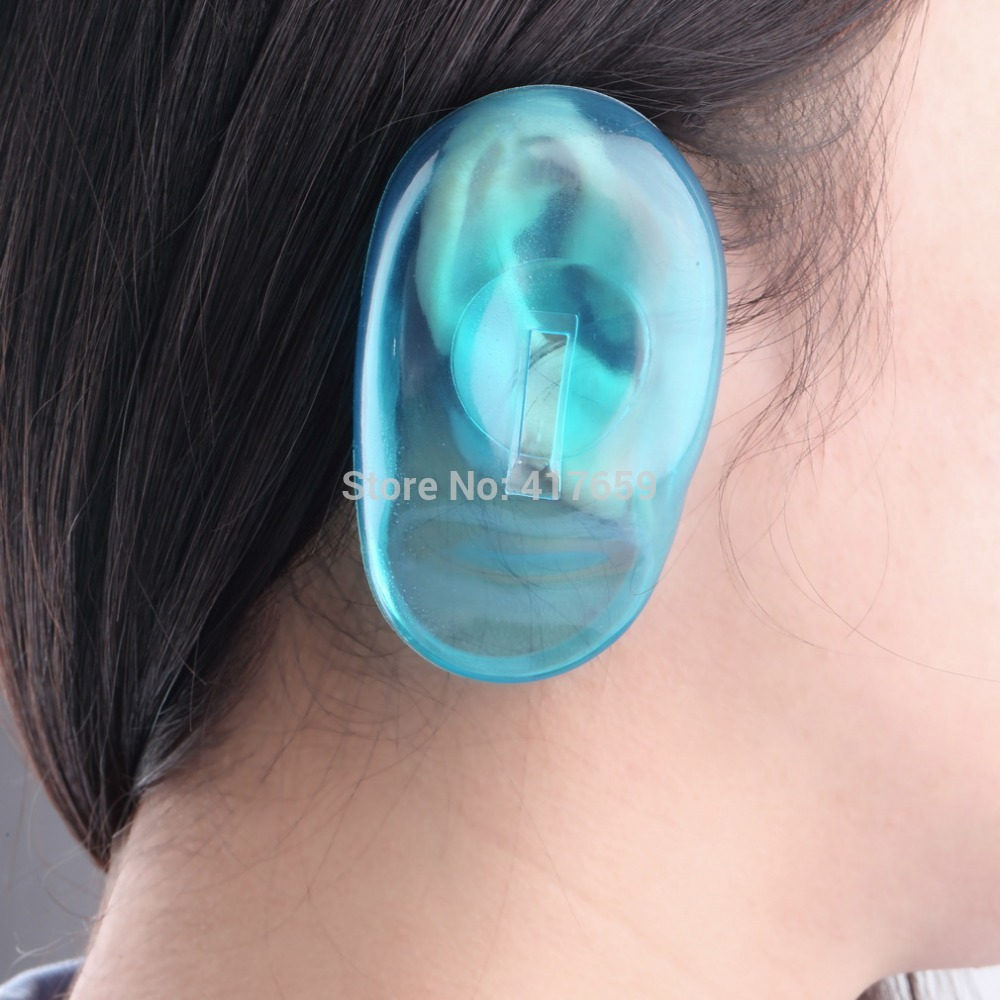 4PCS Clear Silicone Ear Cover professional hair beauty women Hair Dye Shield Protect Salon Color Blue New Styling Accessories