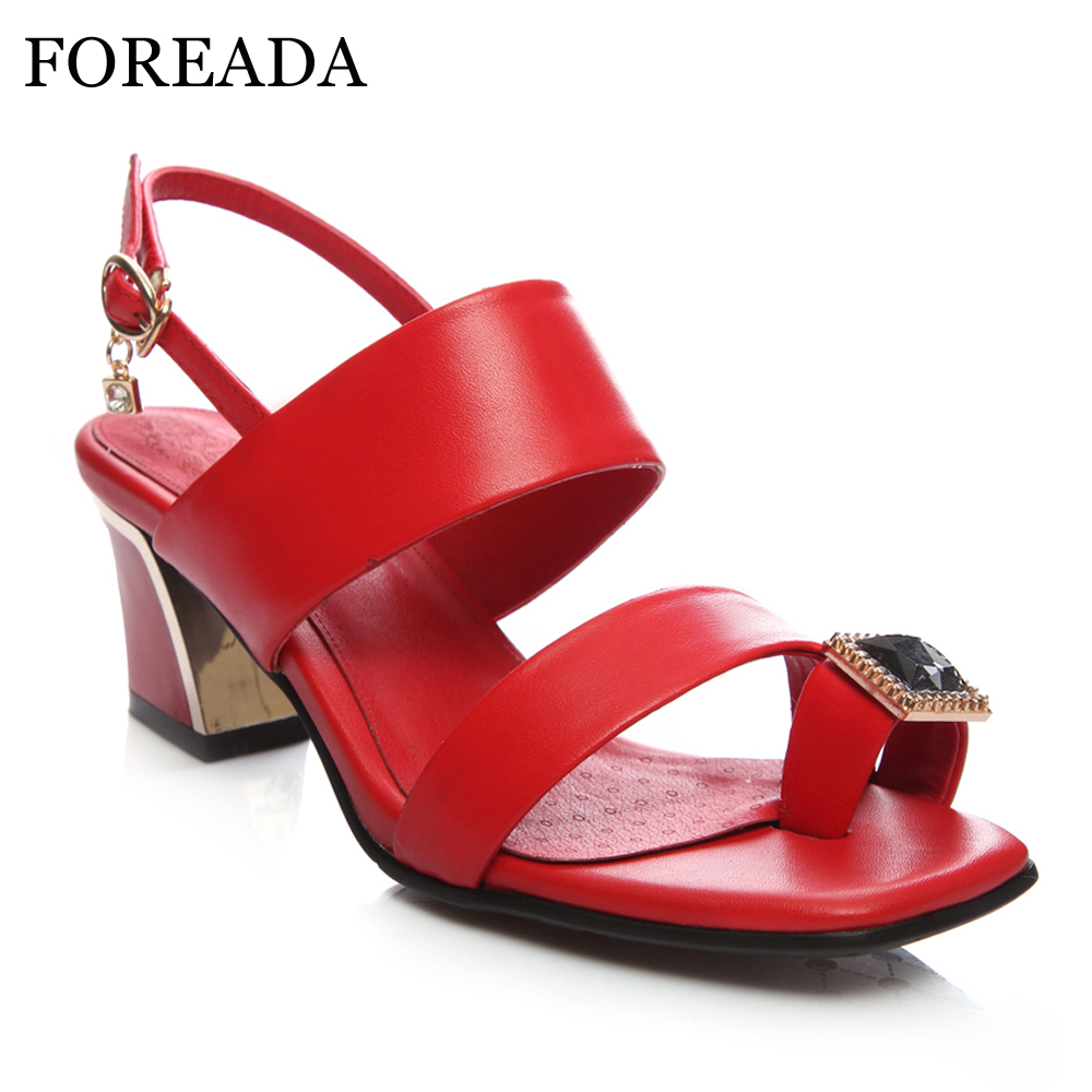 FOREADA Genuine Leather Shoes Women Sandals Thong Sandals Chunky High Heel Sandals Big Size 34-44 Crystal Party Shoes Red Black