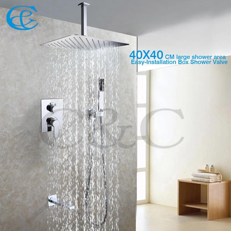 Badezimmer Installation, zeitgenössische stil badezimmer dusche wasserhahn set 40x40 cm regen, Design ideen