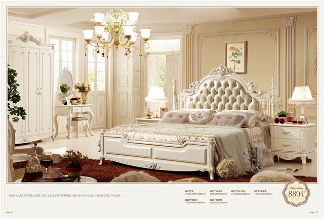 French style royal home use furniture antique wooden bedroom set ...