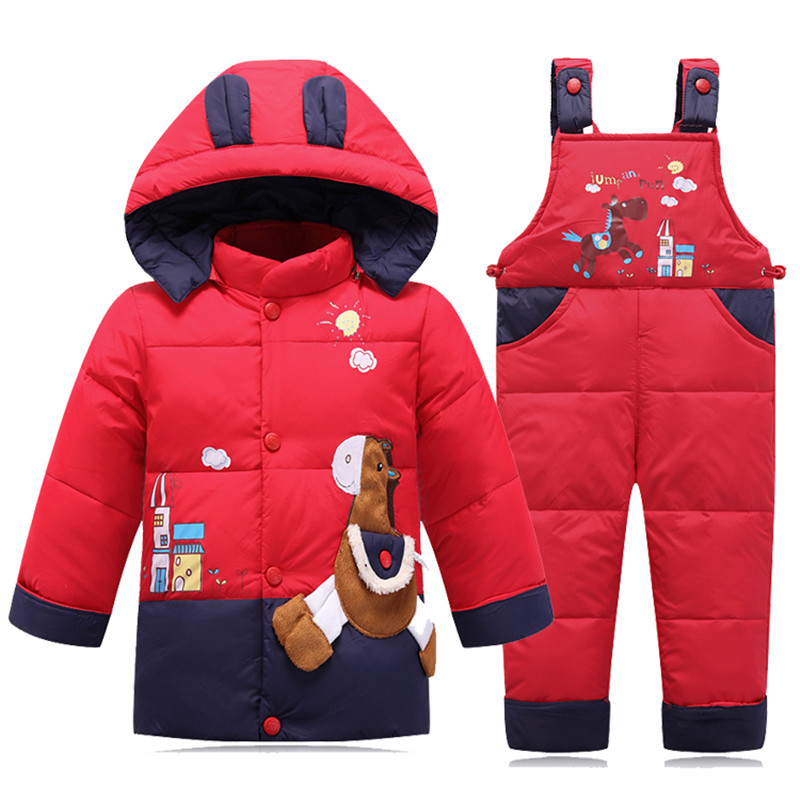 New Winter Baby Clothes Children Set Girls Down Jacket Coat + Overalls 2 Piece Boys Newborn Baby Set Thick Warm Children Clothin newborn boys girls winter warm down jacket suit set thick coat overalls suits baby clothes set kids hooded jacket with scarf