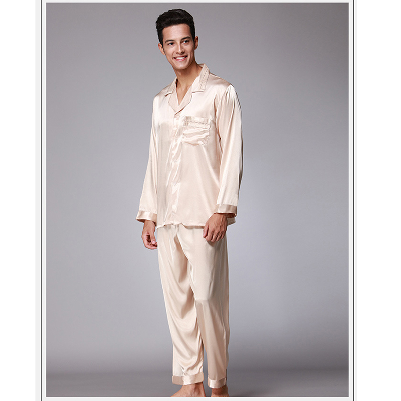 2018 Men Satin Silk Pajamas Sets Sleepwear Set Loungewear US Long Sleeve  Male Leisure Home Clothing Cozy Open Stitch Solid Color-in Men s Pajama Sets  from ... 9d7110df5