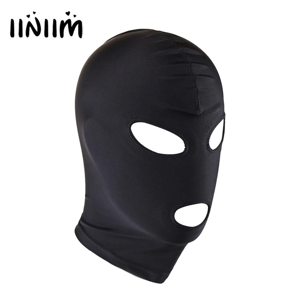 Bondage Costume Adult Headgear Lace Up Adjustable PU Leather Full Head Mask Faux