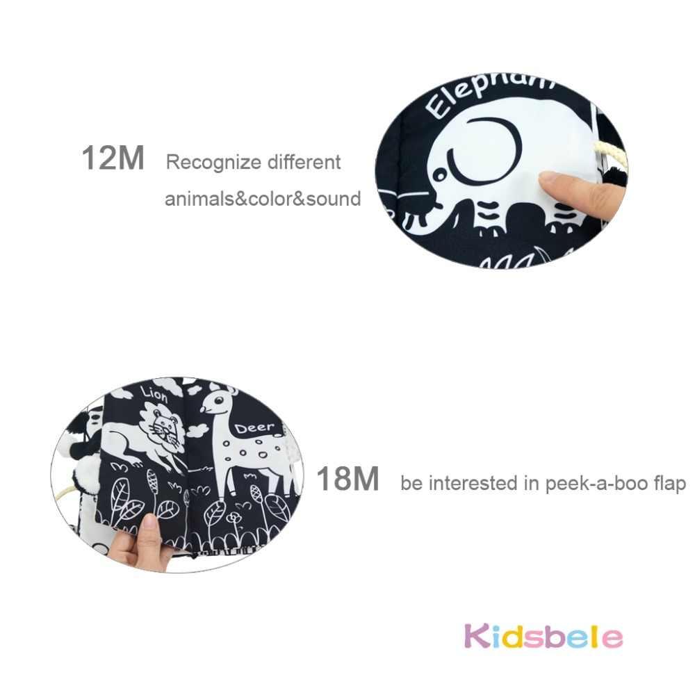 Brinquedos do bebê do livro dos animais das caudas macias preto branco aprendizagem precoce educação brinquedos para crianças pano rustle livros para o infante