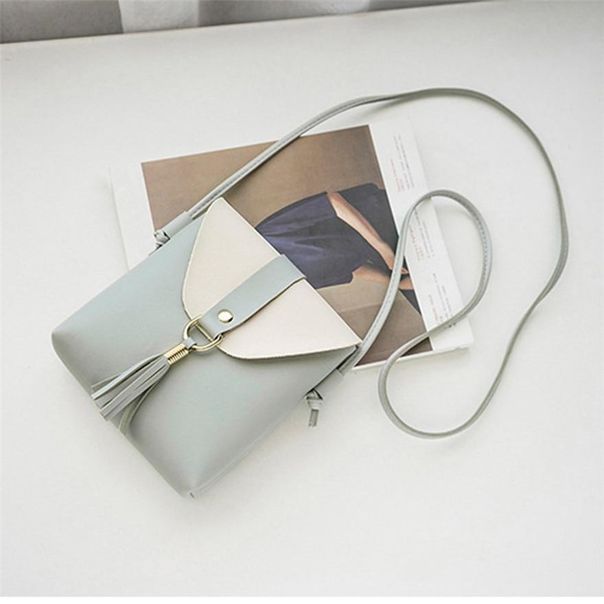Fashion Women Hit Color Tassels Crossbody Bag Casual Leather Shoulder Bag Fo rWomen 2018 Leather Shoulder Bag bolsos mujer T