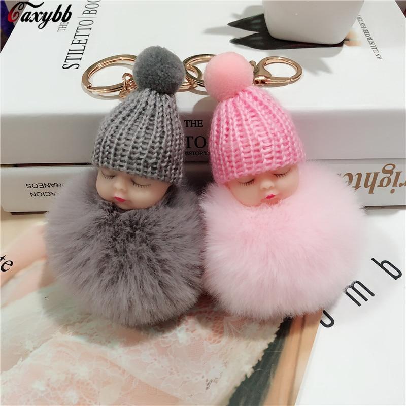 Fake Rabbit Fur Ball Sleeping Baby Doll Keychain Pompom Car Keyring Baby Key Chain Women Key Holder Bag Pendant Jewelry