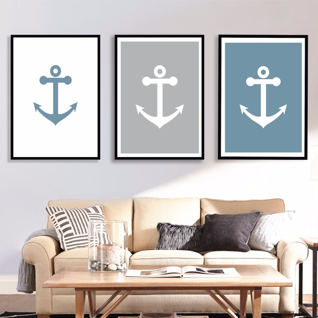 Anchor Abstract Set Cotton Canvas Art Print Painting Poster Wall Pictures  For Living Room Home Decorative