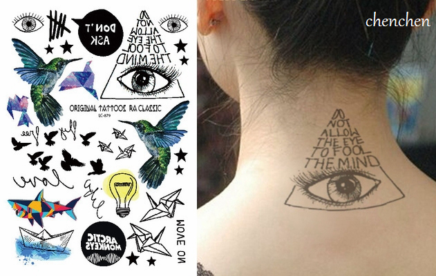 391c882d0b50d Temporary Tattoo Sticker fly bird eye of god paper airplane shark boat lamp  watercolor ink flash