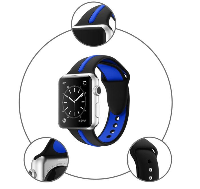 Bracelet sport Apple Watch Silicone Bi-couleur chez Bibitech.net