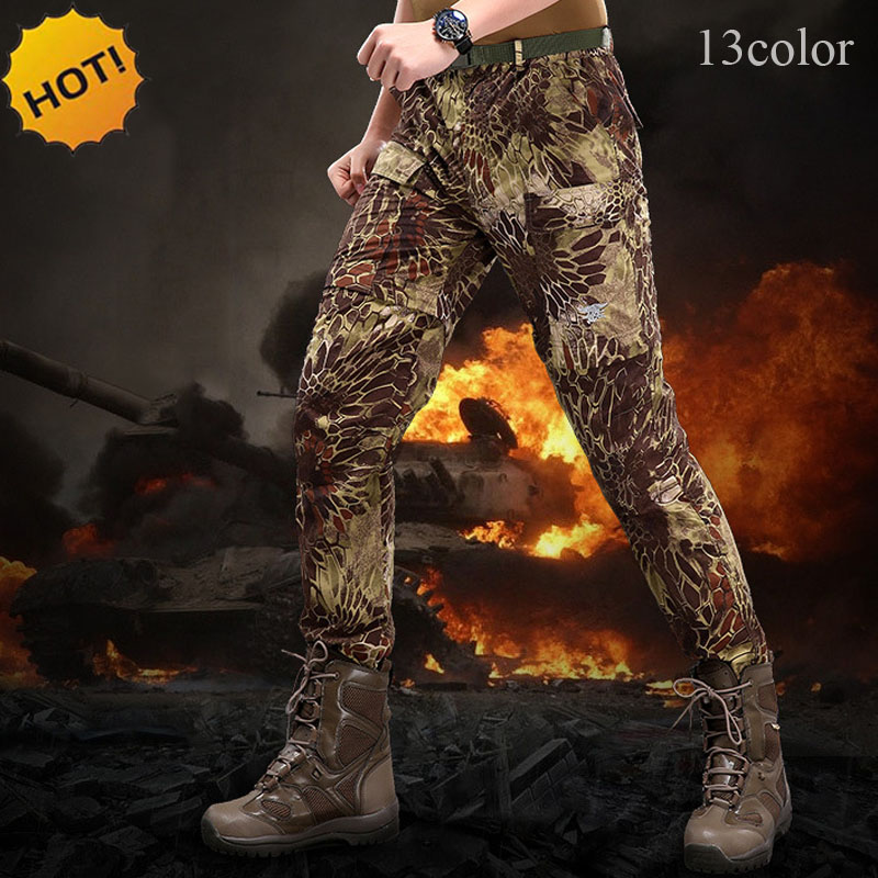 Commando TAD Army Tactical Combat Military Cargo Camouflage Slim Fit Thin Quick Dry Waterproof Removable Pants