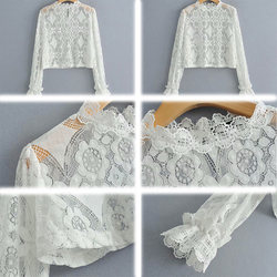 Sexy Perspective Women T-Shirt Summer White Hollow Loose Batwing Long Sleeve Tshirt Women Casual Lace Floral Fashion T Shirt Top 6