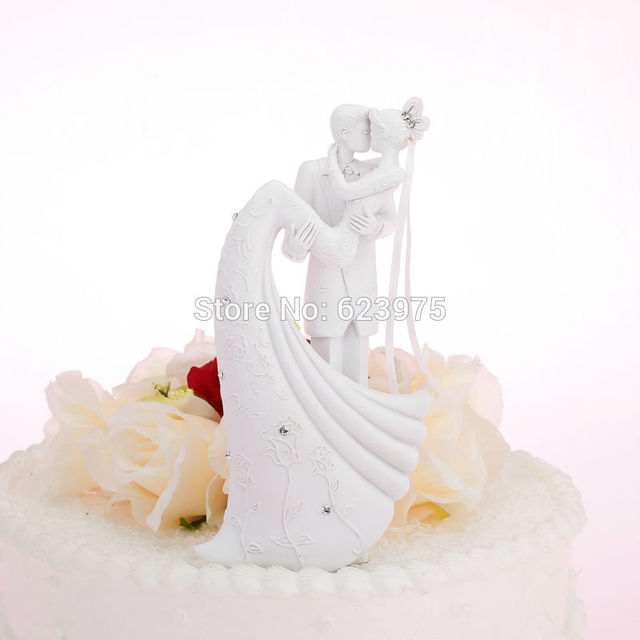 Katemelon Bride Groom Wedding Cake Toppers Figurines White Stand Accessories Decoration