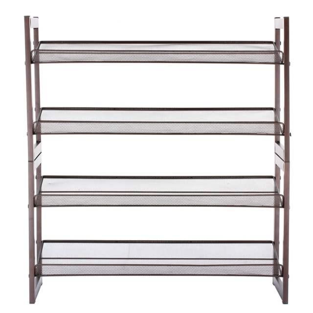 Wire Mesh Shelving   Online Shop Langria 4 Tier Bronze Iron Metal Angled Wire Mesh