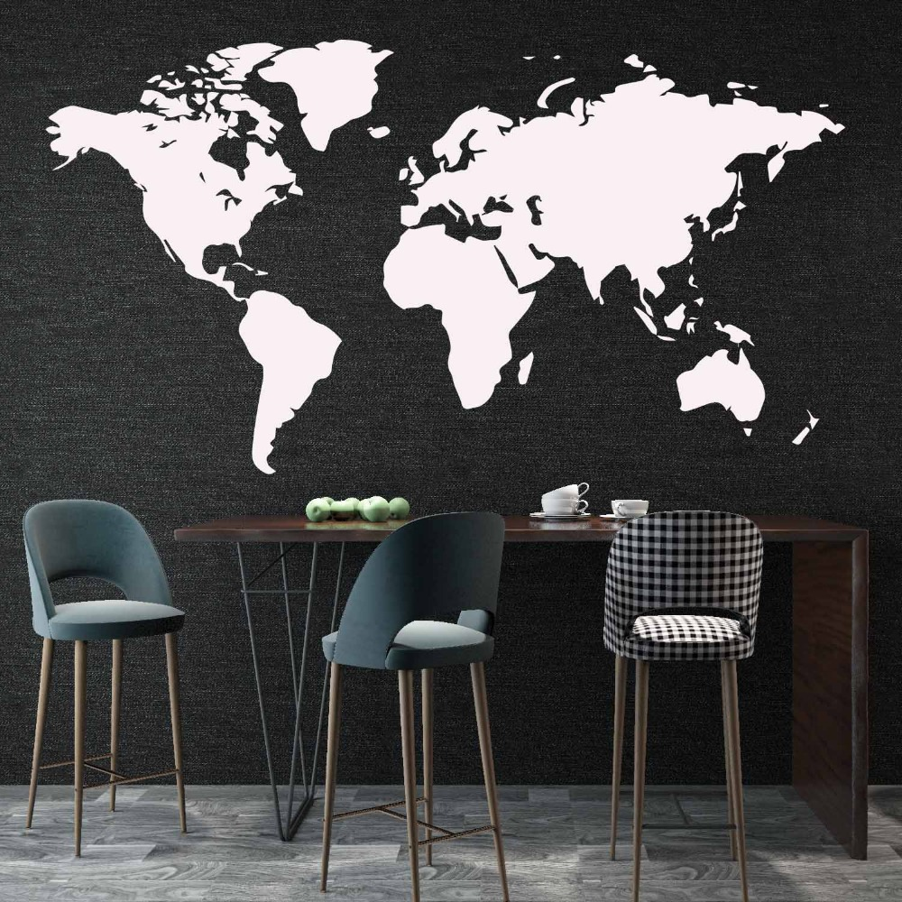 106cmX58cm Wall Sticker World Map for House Living Room Decoration Decal Stickers Bedroom Decor Wallstickers Wallpaper Mural image