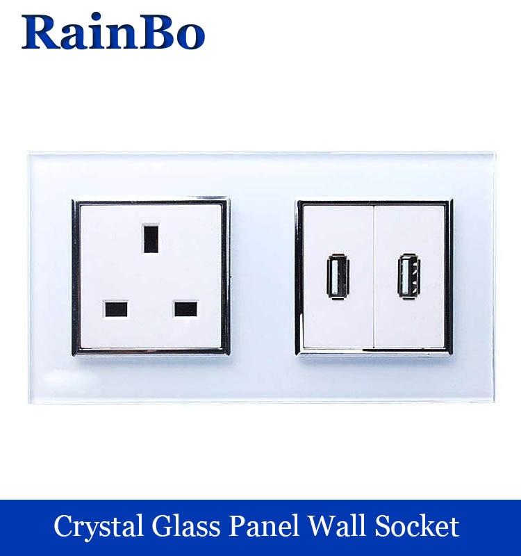 rainbo British standard power outlet USB Socket USB Outlet Glass Panel Wall Power smart outlet Socket Free Shipping A28U82USW/B  цены