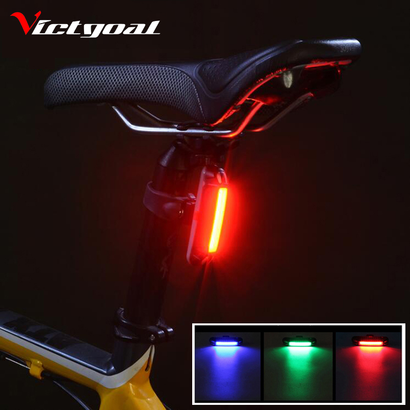 Victgoal Usb Recharge Bike Tail Light Colorufl Bicycle Led