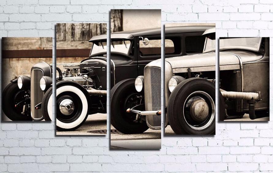 5pcs Hot Rod Vintage Car Pictures 5d Diy Diamond Painting Cross Stitch Kits Full Round Diamond