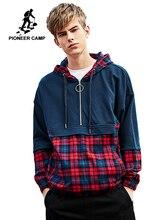 Pioneer Camp Plaid hip hop Hoodies Men brand clothing Zipper Pocket Fashion patchwork Streetwear Sweatshirt male AWY908055