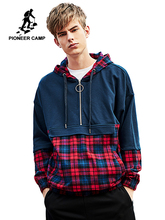 Pioneer acampamento xadrez hip hop hoodies roupas de marca dos homens zíper bolso moda retalhos streetwear moletom masculino awy908055