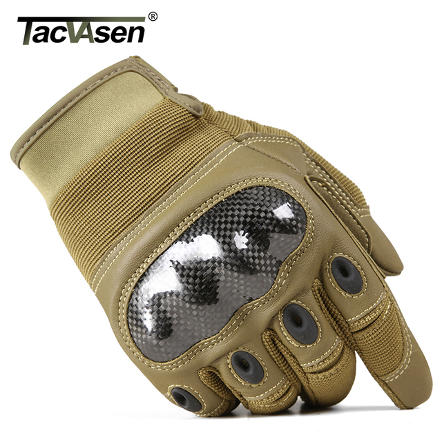 TACVASEN Military Tactical Gloves Men Airsoft Army Combat Gloves Hard Shell Leather Full Finger Shoot Hunt Work Paintball Gloves 1