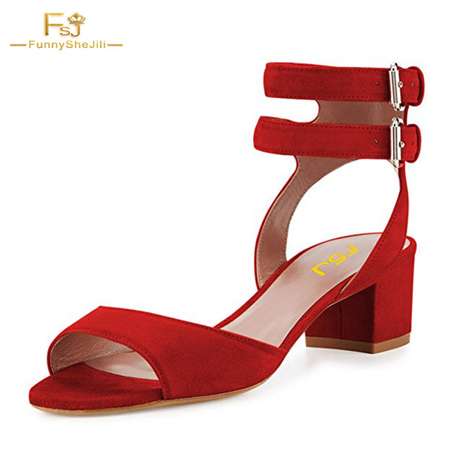 8586f33141 FSJ Fashion Red Sandals Double Buckle Ladies Open Toe Summe Sandals Chunky  Heels Ankle Strap Shoes Woman Party Casual Size 7 US