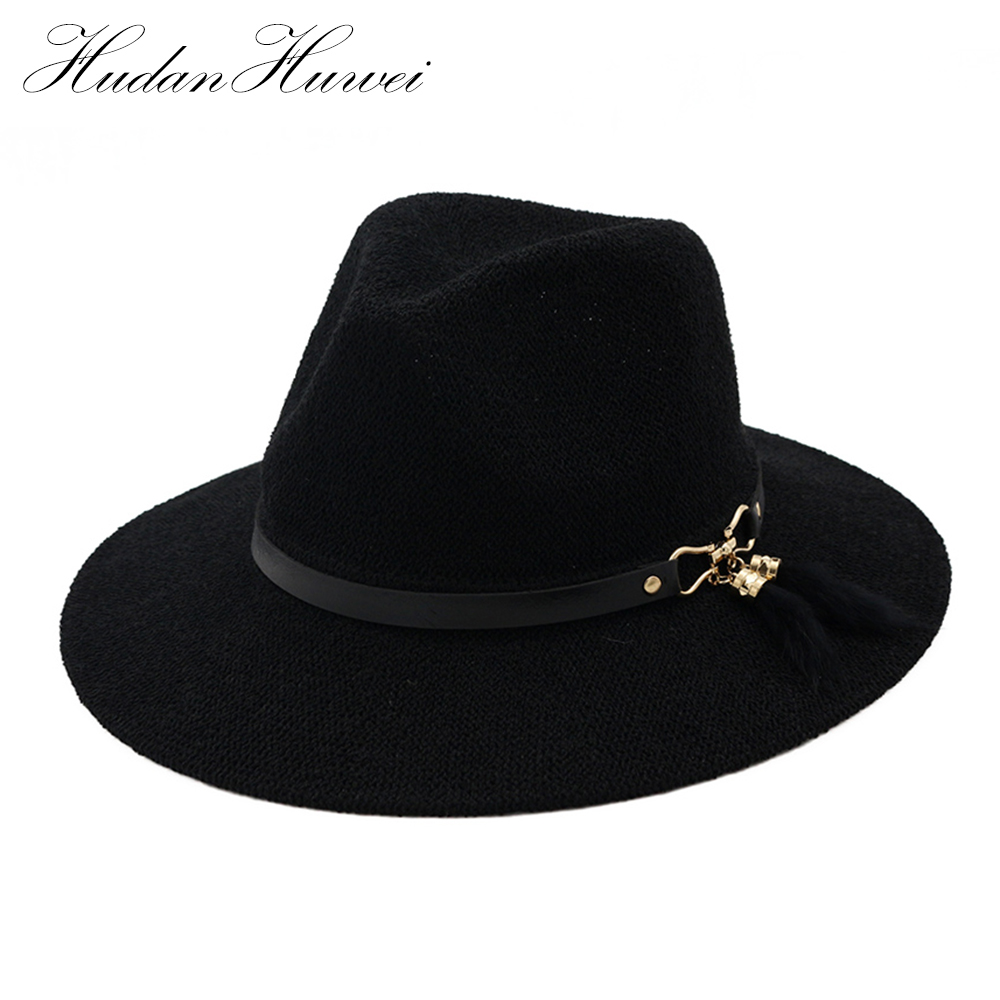 7d7736097a164 Fashion Summer Hats for Women Polyester Straw Fedora Vintage Trilby For Men  with Feather Leather Band QSDJS010