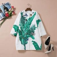 2016 Autumn White Jacquard Cotton Banana Leafs Print Women's Coat Brand Same Style jaqueta feminina 82612