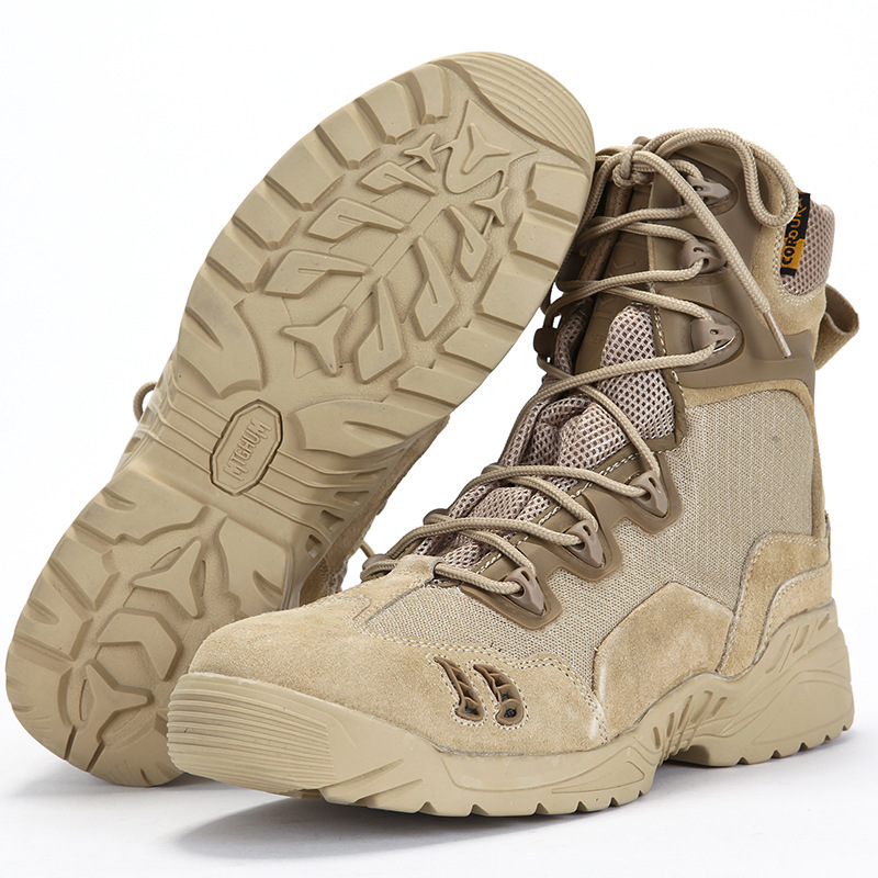 Outdoor Military Desert Combat Tactical Boots Men Women Hiking Sports Hiking Training Leather Mesh Breathable Antiskid