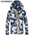 2016 Nova Marca Mens Camouflage turn-down Collar Poliéster Jaqueta Moda jaqueta Casual Fino Para Os Homens o Transporte Da Gota