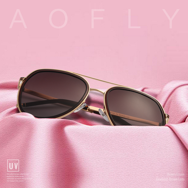 AOFLY BRAND DESIGN Polarized Pilot Sunglasses Men Women Sunglasses Metal Frame Oval Lens Eyewear UV400 A122 1