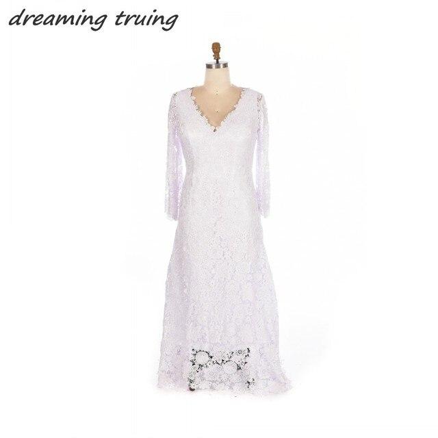 Vintage Elfenbein Spitze Bohemian Wedding Kleid V ausschnitt ...
