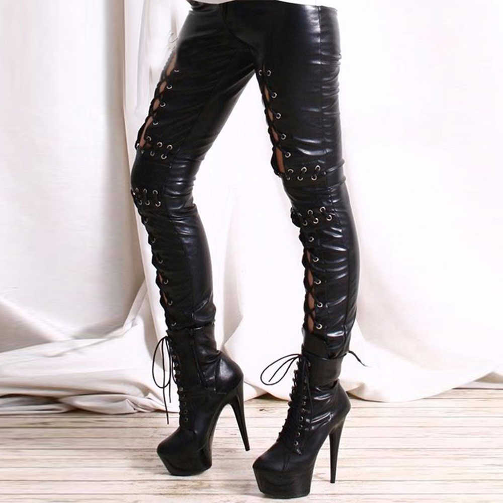 Gothic Vrouwen Hollow Out Lace Up Pant Punk Rock Faux Leather Leggings Lady Night Club Sexy Lederen Leggings