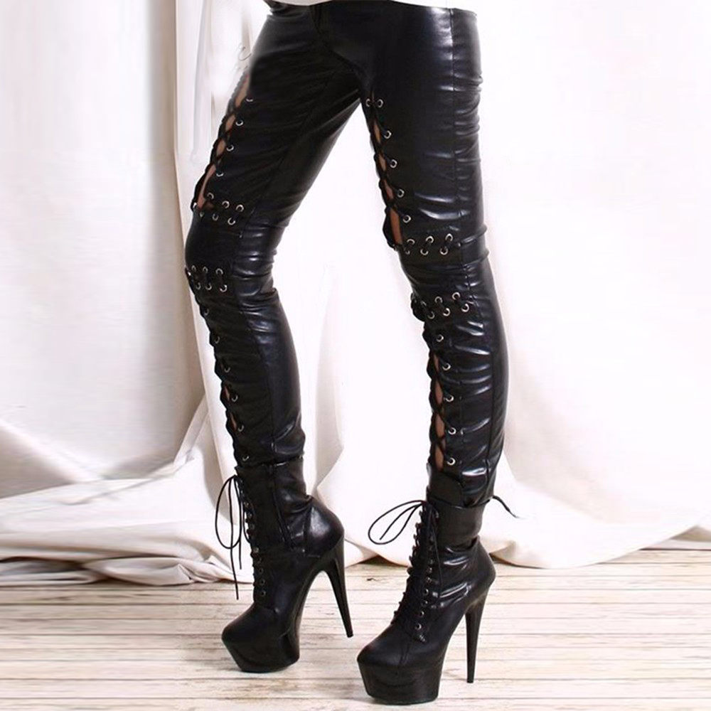 Gothic Women Hollow Out Lace Up Pant Punk Rock Faux Leather Leggings Lady Night Club Sexy Leather Leggings