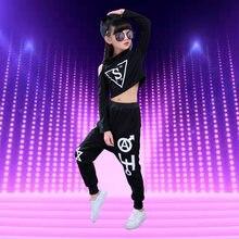 Niños hip hop ropa Jazz hip-hop Tambores danza traje chica moda Moderno  Coreano hip hop Top + Pantalones ropa 98a79c9ac78
