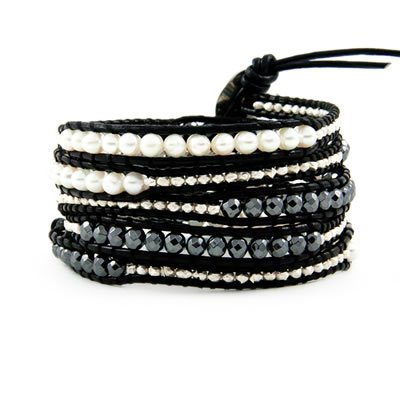latest style 5 wrap bracelet with pearl and 925 silver nuggets and hematite in fall and winter preview Wrap Bracelet on Leather