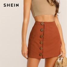SHEIN زر الجبهة تنورة الكورية نمط البني عالية الخصر خط تنورة 2019 الربيع الصيف المرأة البسيطة تنورة